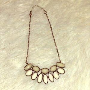 Boutique White & Clear Gem Statement Necklace